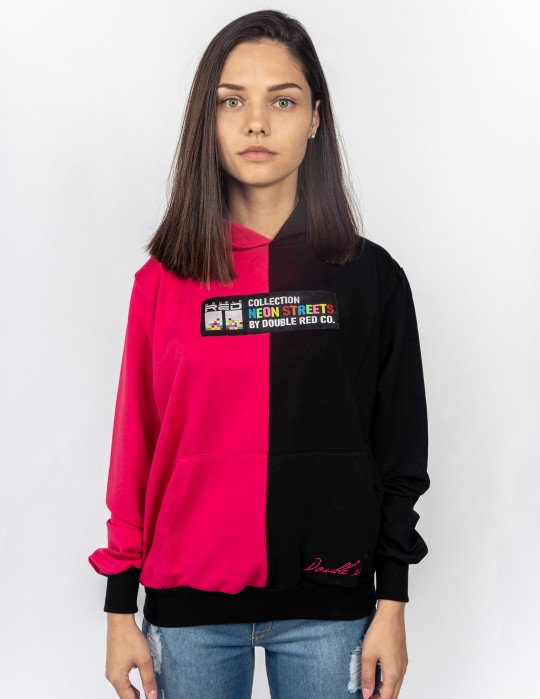 Hoodie DOUBLE FACE NEON Streets Collection Black/Pink