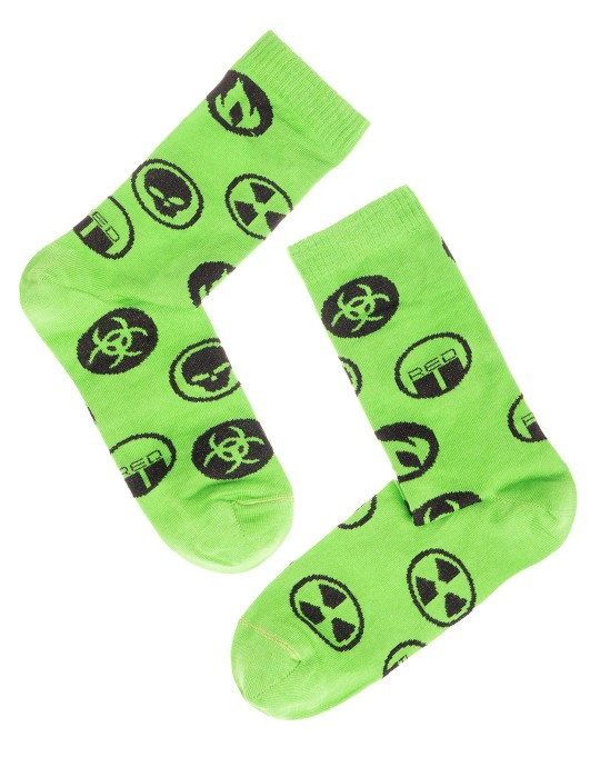 DOUBLE FUN Socks Biohazard Green