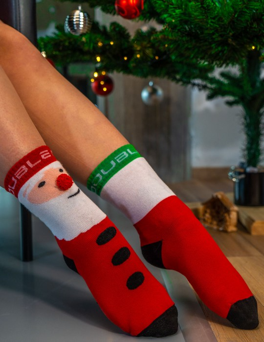 DOUBLE FUN Socks Santa