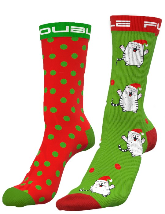 DOUBLE FUN Socks Santacat