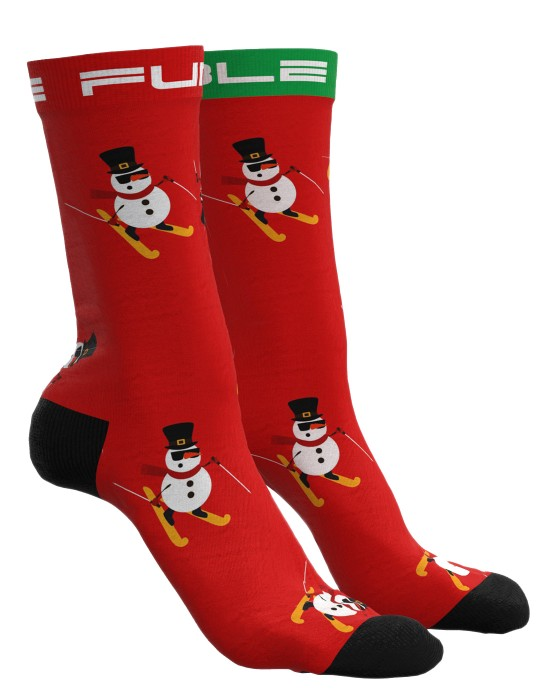 DOUBLE FUN Socks Snow Man Like A Boss Red