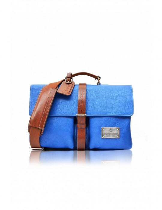 SIGNATURE ALTER BLUE HANDMADE 100% GENUINE LEATHER BAG