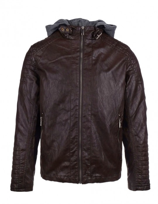Faux Leather Hooded Biker Jacket Brown