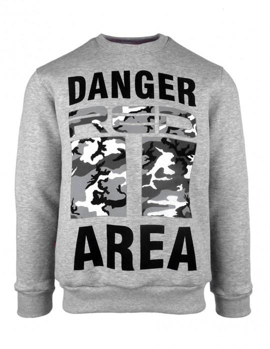 Sweatshirt Danger Area B&W Logo Grey