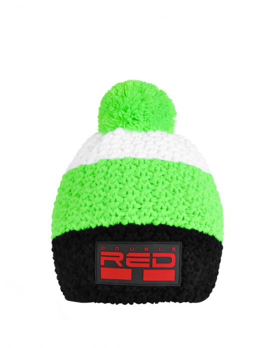 DOUBLE RED COURCHEVEL Pompom Cap Black/Green/White