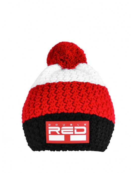 DOUBLE RED COURCHEVEL Pompom Cap Black/Red/White