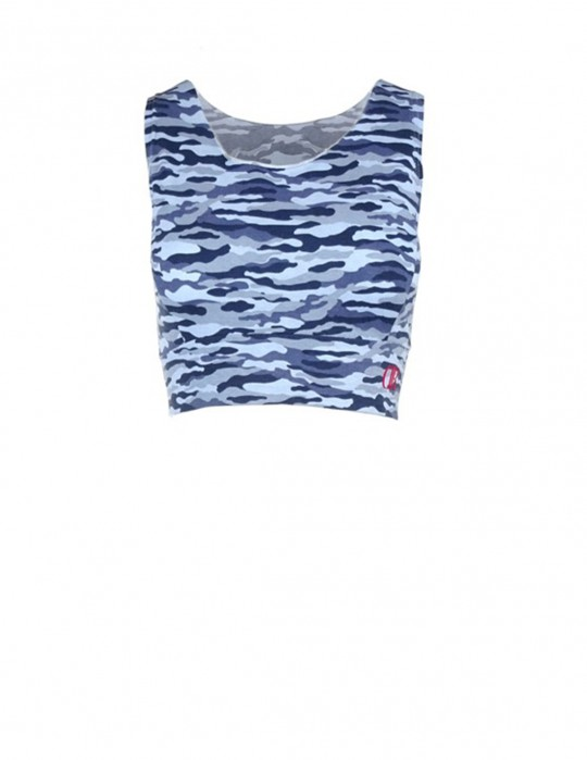 Blue Camo Crop Top