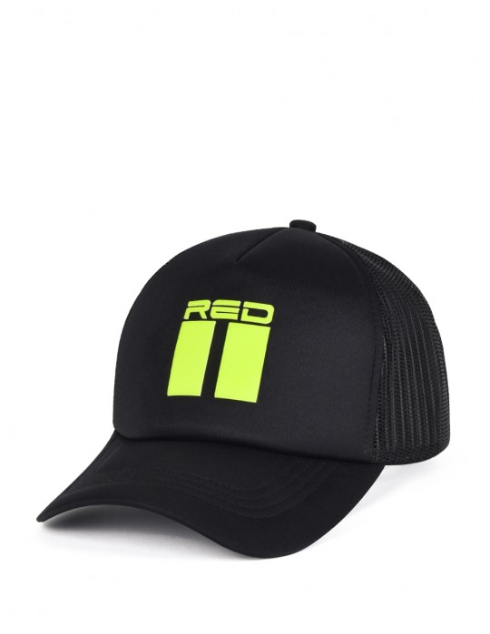 DOUBLE RED 3D Black Cap NEON Yellow