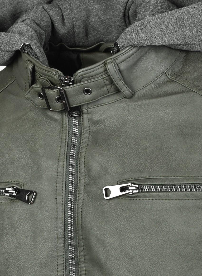 STREET HERO Leather Jacket Olive