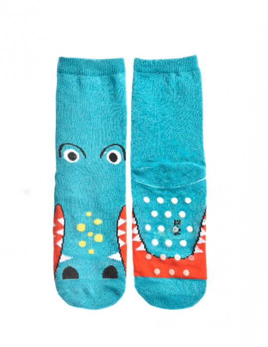 KID Fun Antislip Socks Blue Crocodile