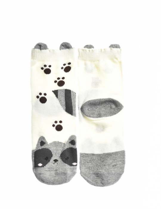 KID Fun Socks White-Grey Racoon