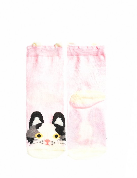 KIDS Fun Socks Pink Kittie