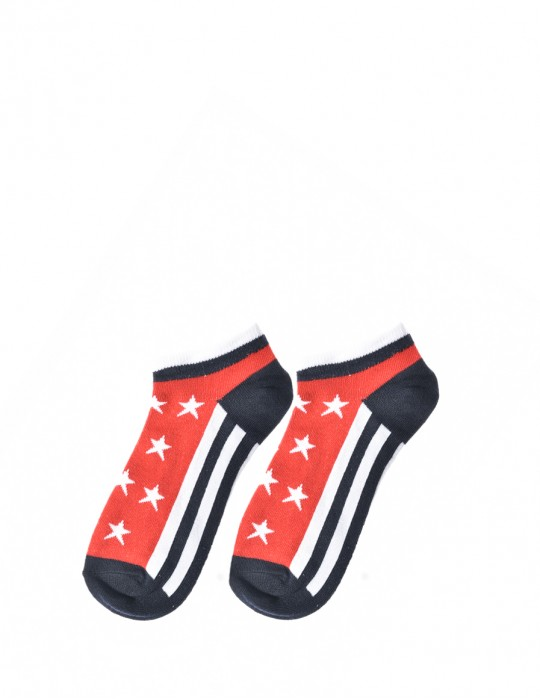 FUN Low Cut Socks Stars Red