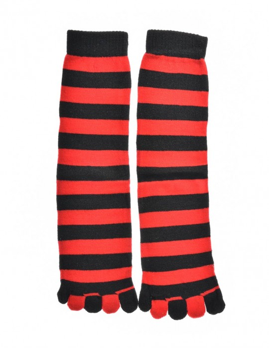DOUBLE FUN Toe Socks Black Red Stripes