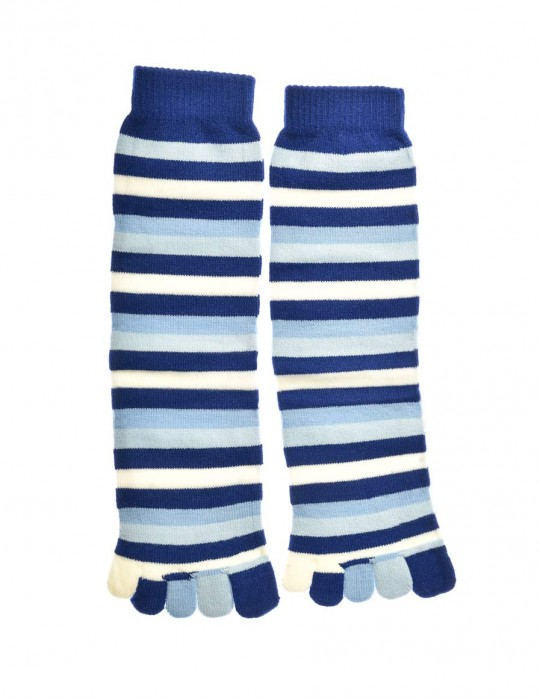 DOUBLE FUN Toe Socks Blue Stripes